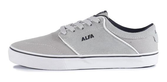 Tênis Alfa Skate Switch Canvas Cinza E Branco Promoção