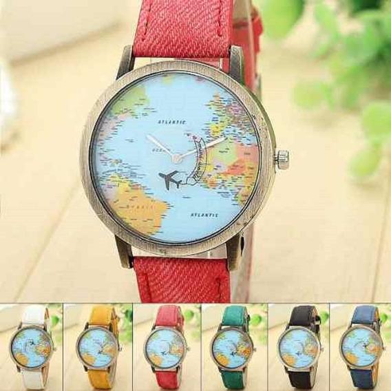 Relógio Mapa Mundi Viagem Avião Casual Oportunidade Mapinha