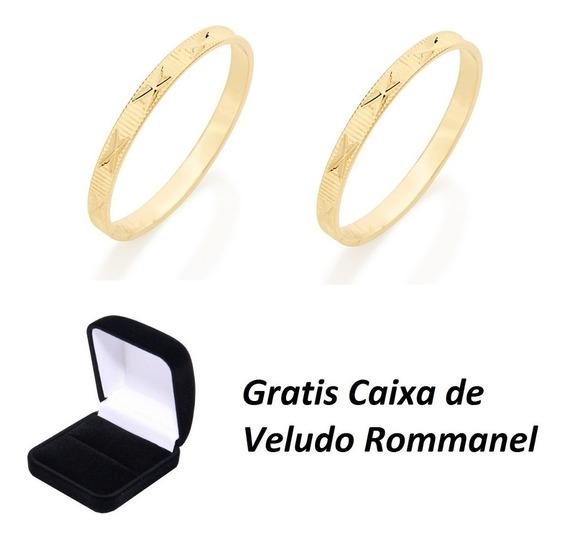 Par Alianças Rommanel Folheada Ouro Aro Fino Linda Delicada Compromisso Noivado Casamento Com Garantia Nota Fiscal