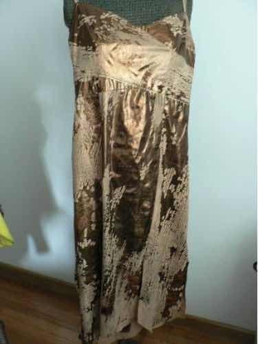 Vestido Ossira Noche Fiesta T 42 44 Color Bronce Igual Nuev