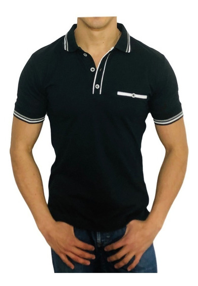 Playera Tipo Polo Slim Fit Peaceful Clothing Negro