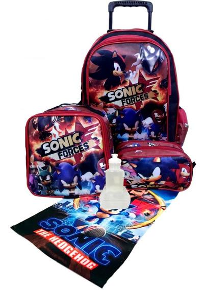 Kit Mochila Sonic Com Rodinhas Lancheira Estojo Duplo