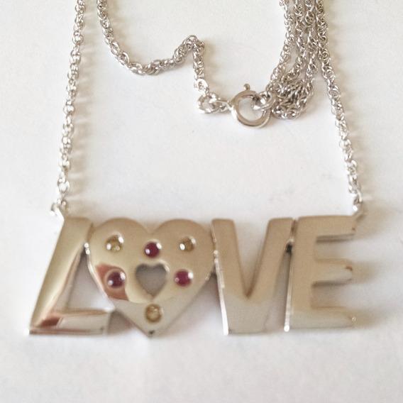 Collar Love Con Diamantes Y Rubies 46cm Plata Sólida .925