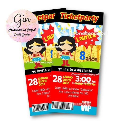 Invitación Imprimible Kit Mujer Maravilla Imprimelo Tu!!