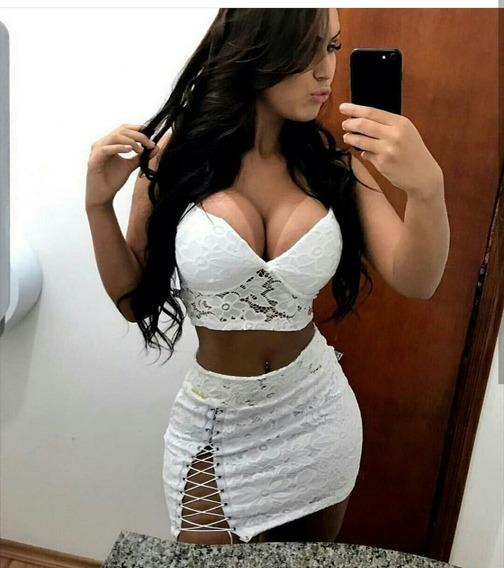 Promoção Cropped E Saia De Renda Branco Sexy Menina