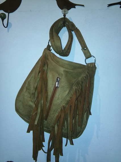 Cartera Simil Gamuza Marron Con Flecos Impecable Estado