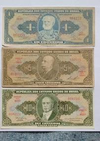 Lote 3 Billetes Brasil 1 - 5 Y 10 Cruzeiros Antiguos