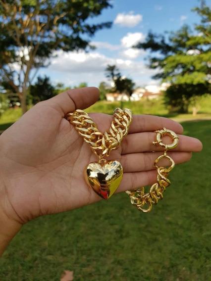Colar De Coração Corrente Grossa Banhado A Ouro 18 K