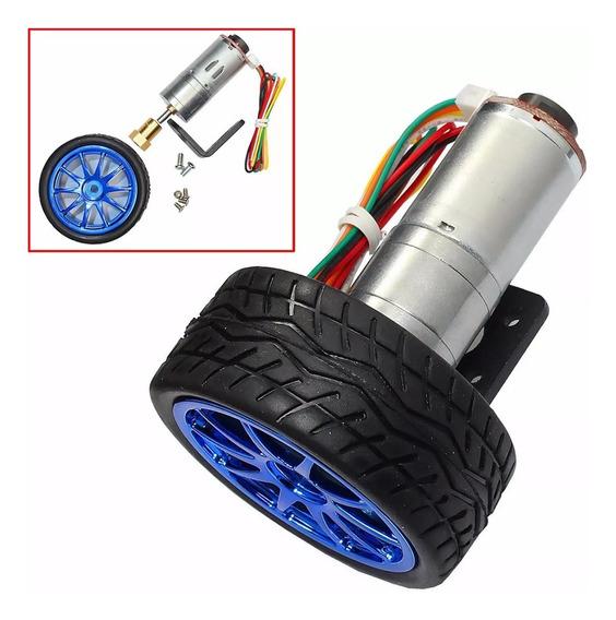 Conjunto Rodas Pneus + Motor Encoder + Suporte Para Robô