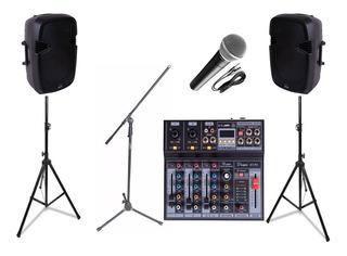 Combo Audio Karaoke Parquer Bafles Microfono Soportes Mixer