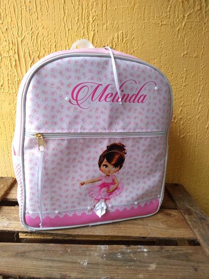 Mochila Infantil Personalizada Creche Bailarina Rosa Amor