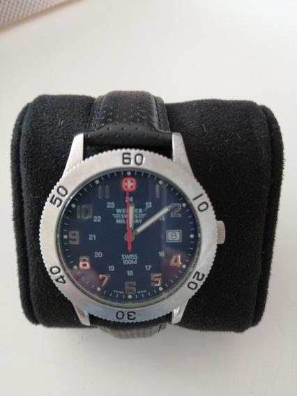 Relógio Swiss Military Fundo Azul Com Datador