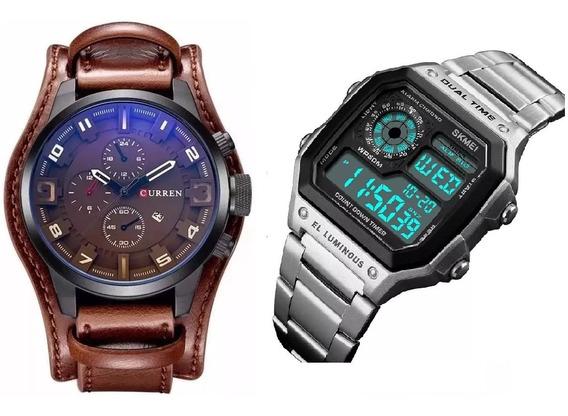 Relógio Masculino Curren 8225 Skmei Digital Aço Cromado