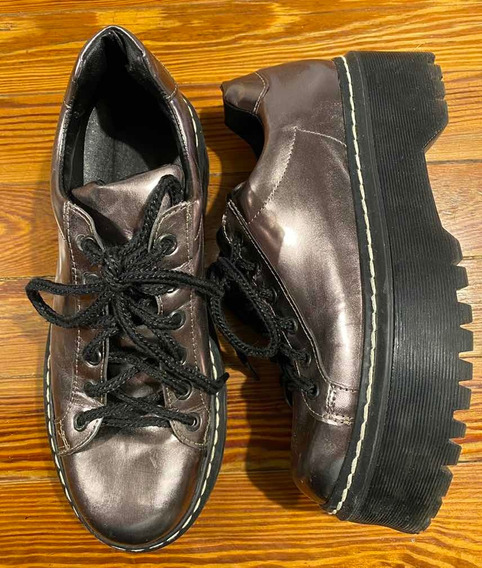 Zapatos De Mujer Con Plataforma Color Peltre Metalizados 38