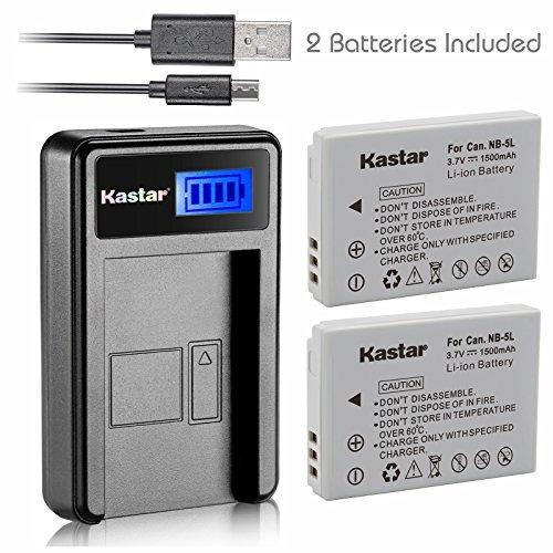 Batería Kastar (x2) Y Cargador Usb Lcd Para Canon Nb-5l Y