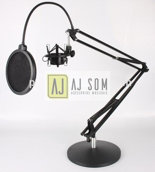 Haste Flexível,articulada De Mesa C/base P/rádio,studio-70cm