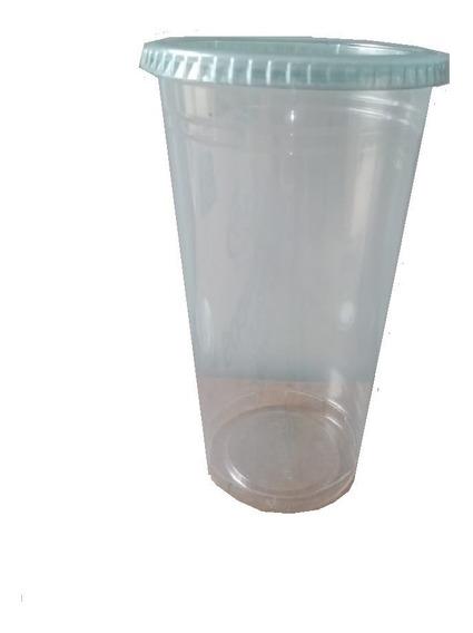 500 Vasos Con Tapa Plana 16 Onzas Biodegradables