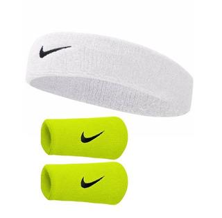 Kit Testeira Branca + Munhequeira G Verde -swoosh Nike