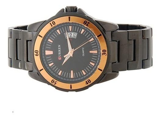 Relógio Curren Preto Com Bronze Wm0104801 Sem Caixa