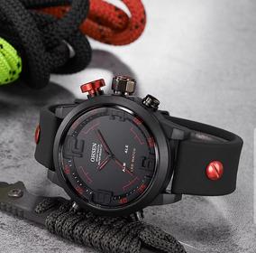 Relógio Ohsen 2820 Pulseira De Silicone - Preto C/ Vermelho