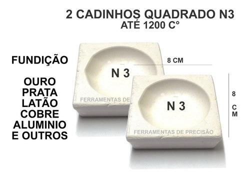 2 Cadinhos Fundição Quadrado N3 Ourives Refratario