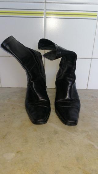 Botas Cuero Febo Negro 1/2 Caña Cierre T39 Taco 5,5 Recoleta