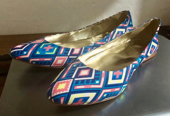 Zapatos Flats Para Mujer Talla 24   Azul Rombo Tela Isk