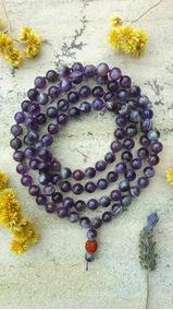 Japamala 108 Pedras Naturais 8mm Cristal Ametista Prana Yoga