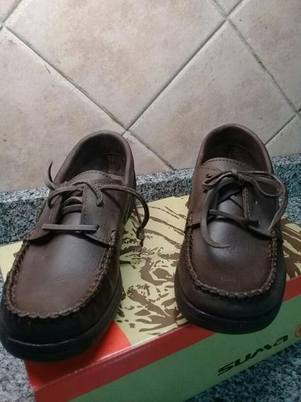 Zapatos Nauticos Colegial De Cuero 37.