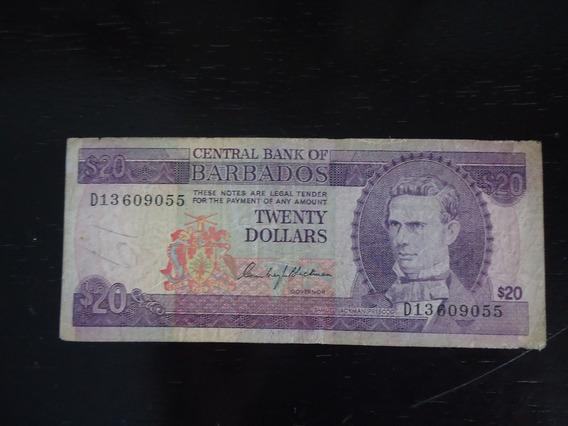 Nota Cédula 20 Twenty Dolar Dollares Barbados Antiga Rara
