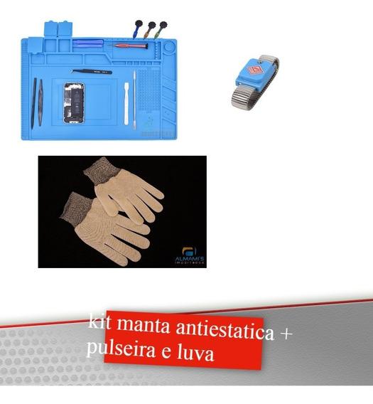 Kit Manta Antiestatica + Luva + Pulseira Sem Fio Antiestica