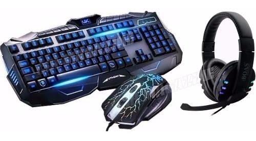Kit Gamer Teclado Led + Mouse + Fone Tipo Razer Frete Gratis