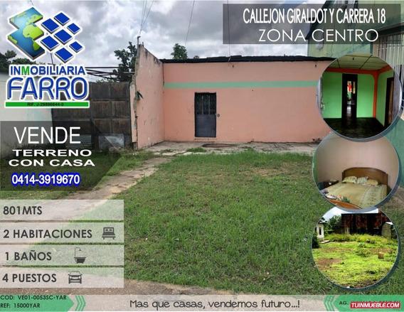 Venta De Terreno Con Casa, Sector Centro Ve01-0053sc-yar