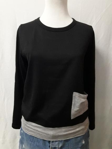 Sweater Teresa Calandra Negro Y Gris Bolsillo Impecable T2