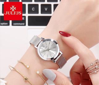 Reloj Julius Ja-732 Mujer Dama Malla Acero. Envio Gratis