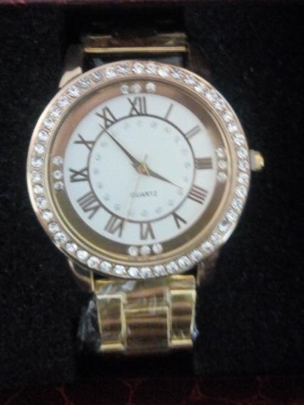 Relógio Feminino Dourado Com Strass