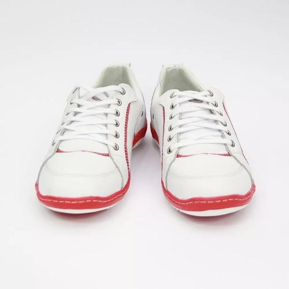 Sapato Sapatênis Couro Branco E Vermelho Cla-clê