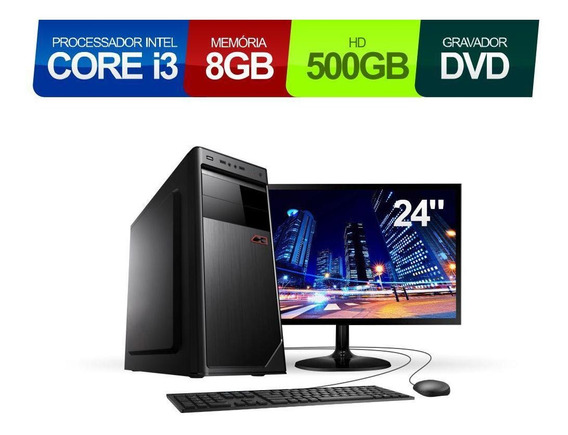Pc Corporate Core I3 8gb 500gb Dvd E Cd Mon Full Hd 23.8