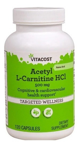 Acetyl L Carnitine Hcl Vitacost 500 Mg 120 Cáp Salud Corazon