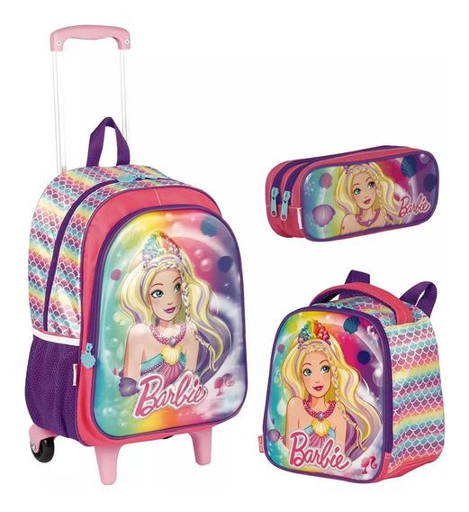 Kit Mochila Barbie Sereia Infantil Escolar Tam G + Brinde
