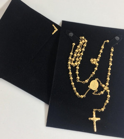 Terço Corrente Oração Católico Aço Banhado Ouro 70cm