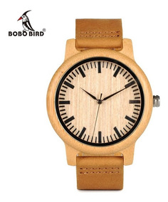 Relógio De Pulso Masculino Feminino Madeira Bambu Bobo Bird