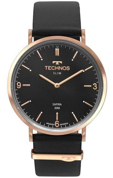 Relógio Technos Adulto Unissex Classic Slim Preto 2025lto/2p