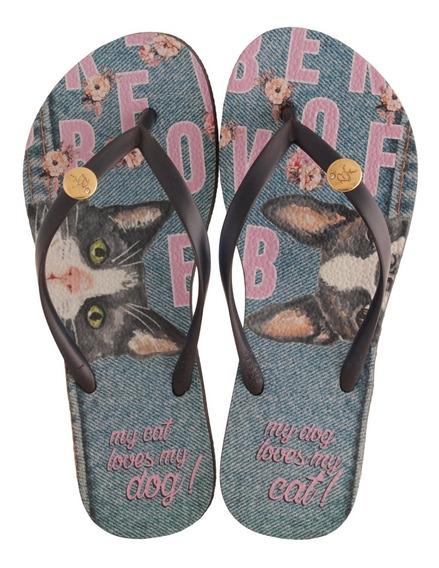Chinelo Rafitthy Be Forever Cat Dog Jeans Feminino