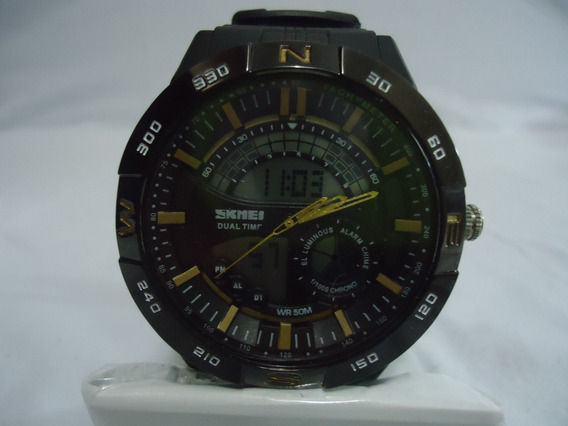 Relógio Masculino Skmei Anadigi 1110 - Preto E Dourado