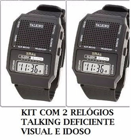 Kit 3 Relógios Fala A Hora Para Deficiente Visual E Idoso