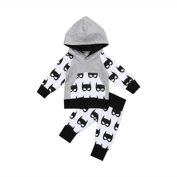 Conjunto Infantil Bebê Batman Calça Jogger E Blusa Com Capuz Em Malha De Algodão