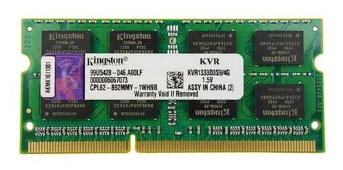 Imagem 1 de 2 de Memória Ram 4gb 1x4gb Kingston Kvr1333d3s9/4g Pc3-10600 1.5v