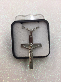 Crucifixo Aço Inox Com Corrente Aço Inox
