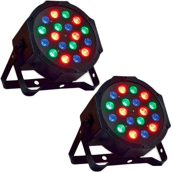 Kit 2 Canhão Led Par Refletor Slim Rgb 18 Led 1w Dmx Digital
